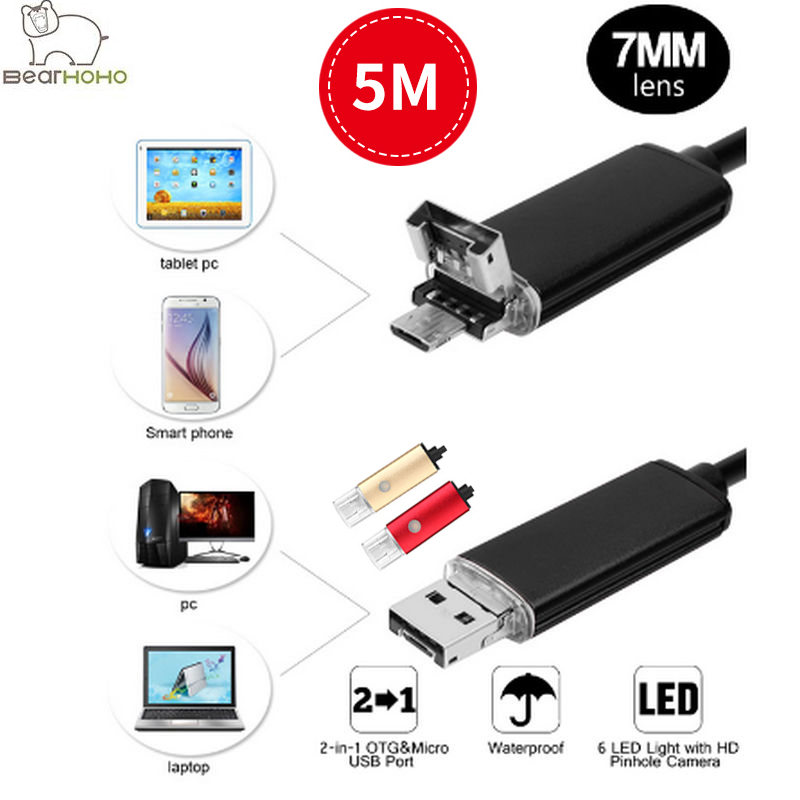 Video Endoscope Android PC 2IN1 HD 720P 5M Cables 7mm Lens 2.0MP Inspection Camera Car Endoscope USB Flexible Camera Waterproof usb endoscope android 2in1 hd 720p 5 5mm lens 2 0mp 2m snake tube inspection camera car endoscope flexible camera waterproof