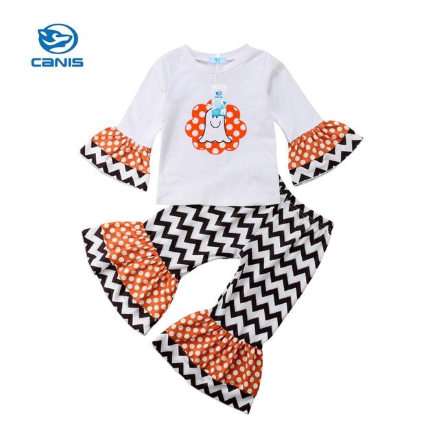 8eaf91057 Toddler Baby Girls Halloween Long Sleeve T shirt Tops Striped Flare ...