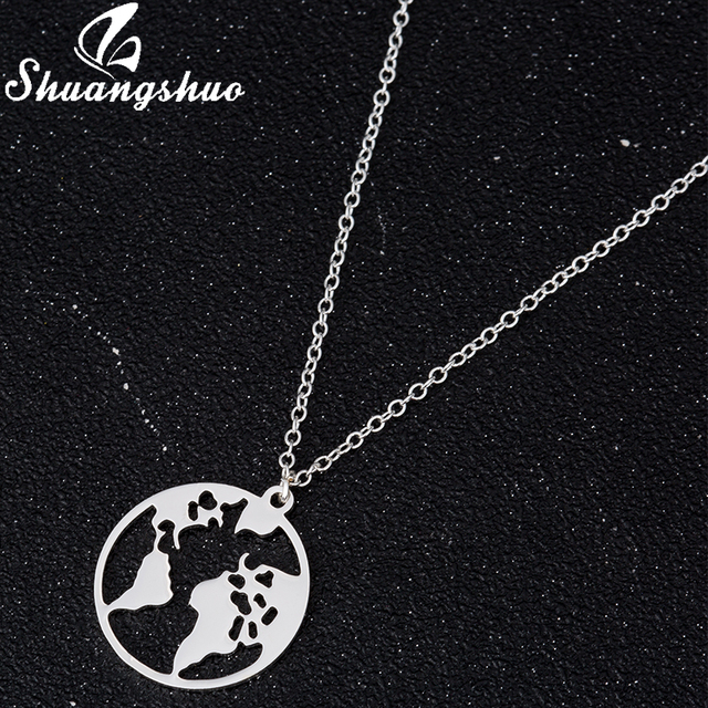 Shuangshuo Vintage Origami World Map Necklace Women Geometric Necklace Round Necklace Circle Necklaces & Pendants Choker Jewelry 2