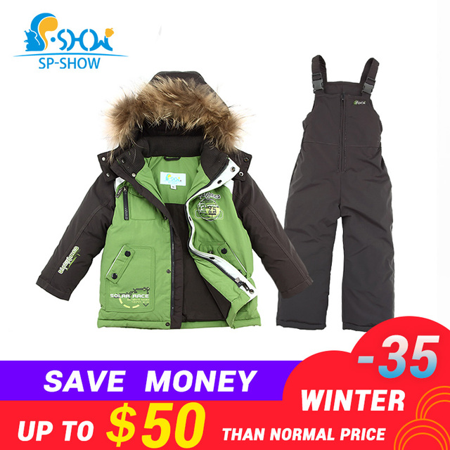 f28850dde2 BUY 1 SUIT GET 1 FREE SCARF -30 degrees SP-SHOW Winter 90% White down suit  nature fur Boy and Girl Coats Kids Clothing Sets Ski