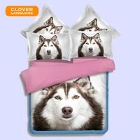 CLOVER LANGUAGE Home Textiles 3D Dog Geometric Printed Style Bedclothes Bedding Set Cotton 3pcs Baby Bedding Set Boys