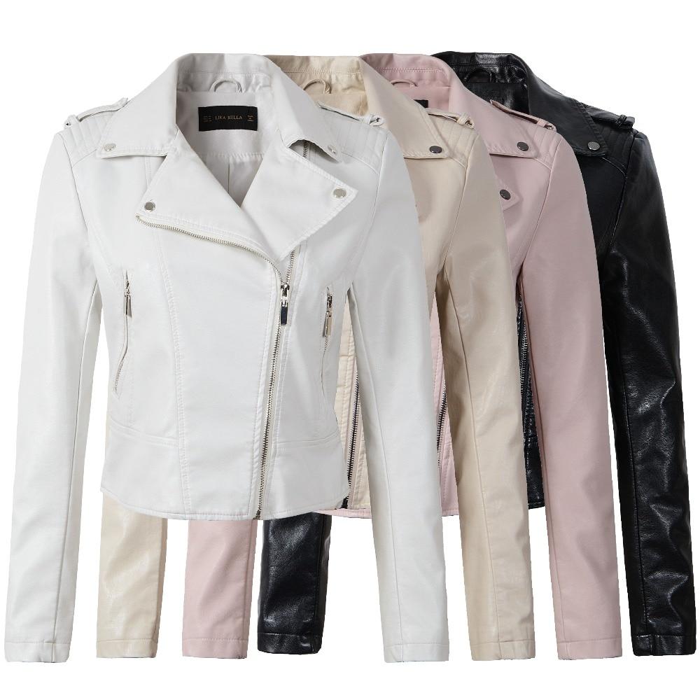 2019 New Elegant Autumn Winter Leather Jacket Women's Short Pink Black 4 color LeatherCoat Ladies Slim Motorcycle Jaqueta Couro