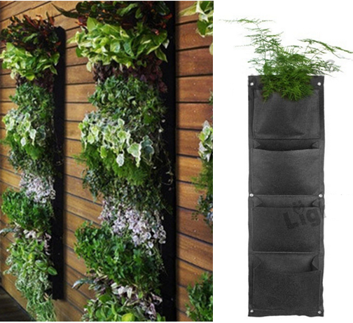 4 Pocket Hanging Vertical Garden Wall Planter For Herbs