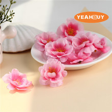 200pcs 4.5cm wholesale real touch Artificial silk peach blossom plum  cherry diy flower dance props clothes
