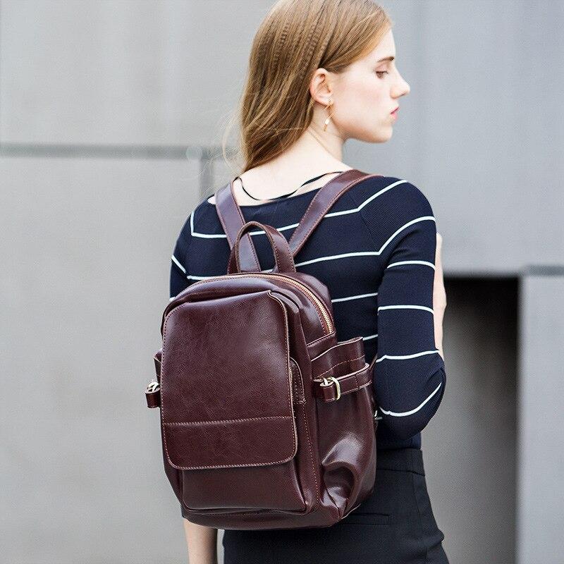 Vintage femmes sac à dos en cuir véritable sacs à dos pour les adolescentes sac d'école dames dos sac à bandoulière grand sac à dos cartable
