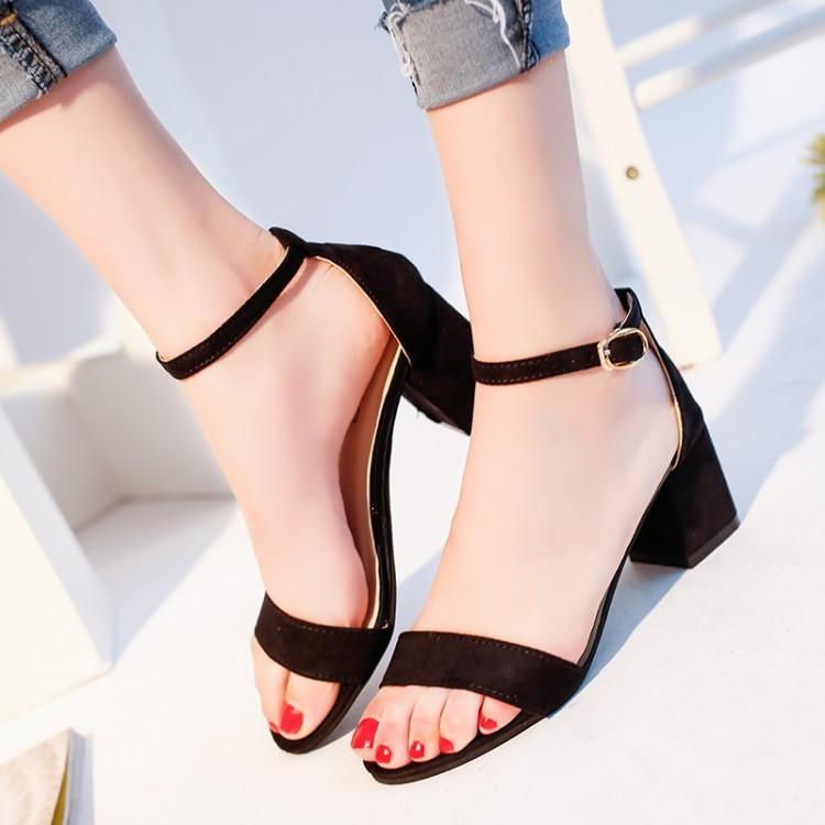 High-heeled female Coarse Heels Toe Buckle Rome Sandals Sandal Women Summer Shoes Sexy nice Pumps