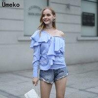 Women Tops Off The Shudler Butterfly Striped Shirt Long Sleeve Harajuku Streetwear One Shoudler V Neck Button Fashion Sexy Shirt