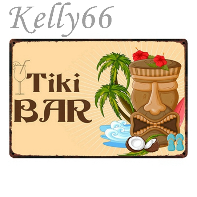 Kelly66 TiKi BAR Metal Sign Tin Poster Home Decor Bar Wall Art ...