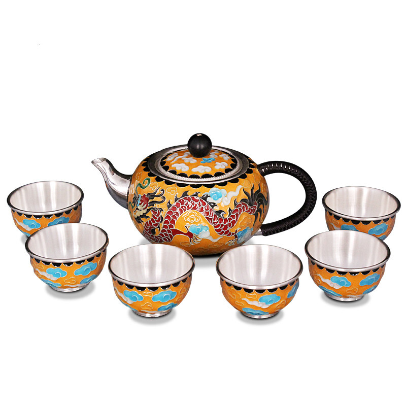 Pure silver exquisi teteapot kettles tea cup  chinese kung fu tea set drinkware 5