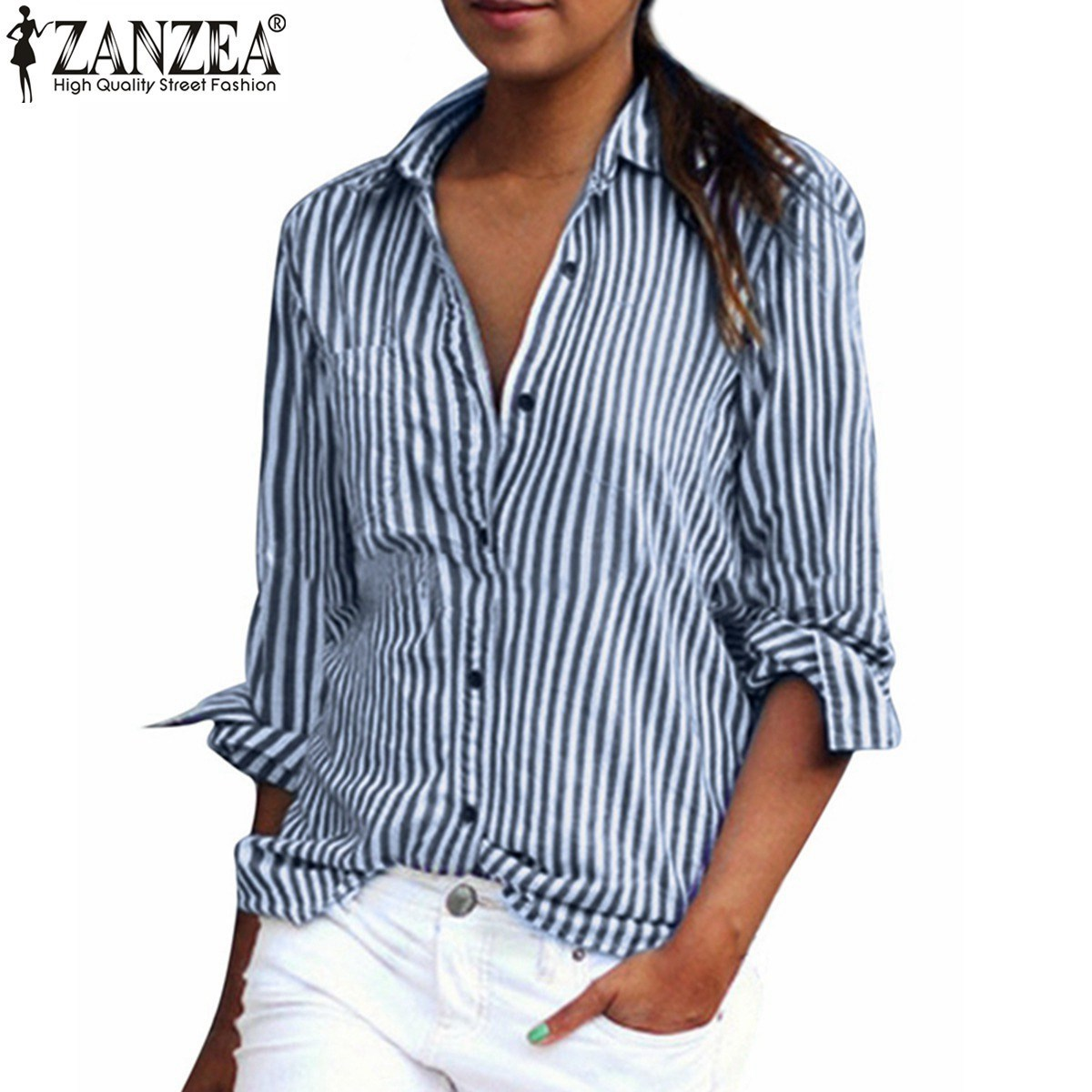 Oversized 2017 Spring Women Blusas Fashion Casual Long  Sleeve Lapel Striped Shirts Casual Leisure Blouses Tops Plus Size S-6XL