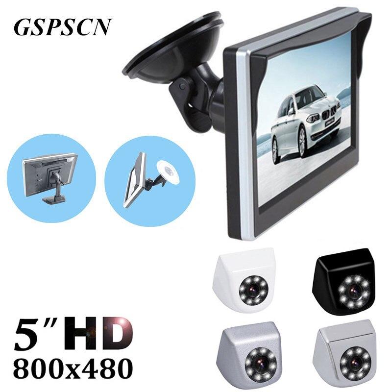 GSPSCN Câmera Do Carro de Backup Reversa Frente/Rear view Câmeras de Visão Noturna À Prova D' Água + 5 polegada Monitor de Visão Traseira Opcional suporte