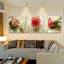 3 Piece Canvas Art Home Decor Rose Flower Wall Art Canvas Painting Wall Pictures for Living Room Bedroom Canvas Art Prints HY67