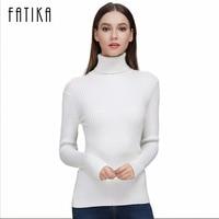 FATIKA 2017 Fashion Women Turtleneck Full Sleeve Brief Slim Pullovers Solid Elegant Knitted Skinny Sweater Jumpers