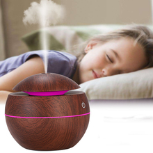 Mini Air Humidifier USB Ultrasonic Aroma Diffuser Wood Grain  Light Electric Essential Oil For Home Aromatherapy