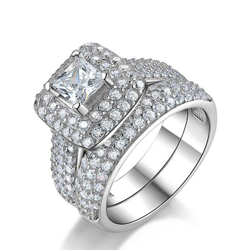 Moonso trendy Luxury 925 Sterling Silver Wedding Ring Set band for bridal girls and Women ladys love couple pair jewelry R3400 4
