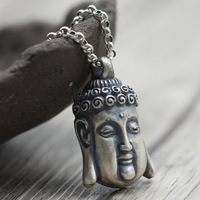 925 silver jewelry retro yaguang Buddha joker sweater chain pendant Thai men and women old grind arenaceous silver pendant