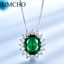 UMCHO Classic Princess Diana Necklaces Pendants 925 Sterling Silver Jewelry Created Emerald Necklace For Women Gift With Chain