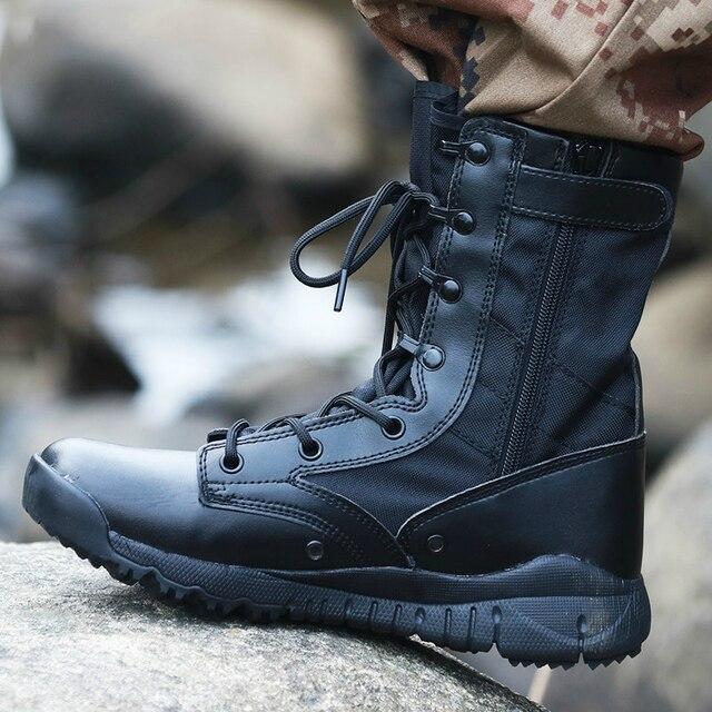Outono ultra leve botas táticas masculinas forças especiais botas militares masculino ao ar livre à prova dwaterproof água antiderrapante caminhadas sapatos de viagem