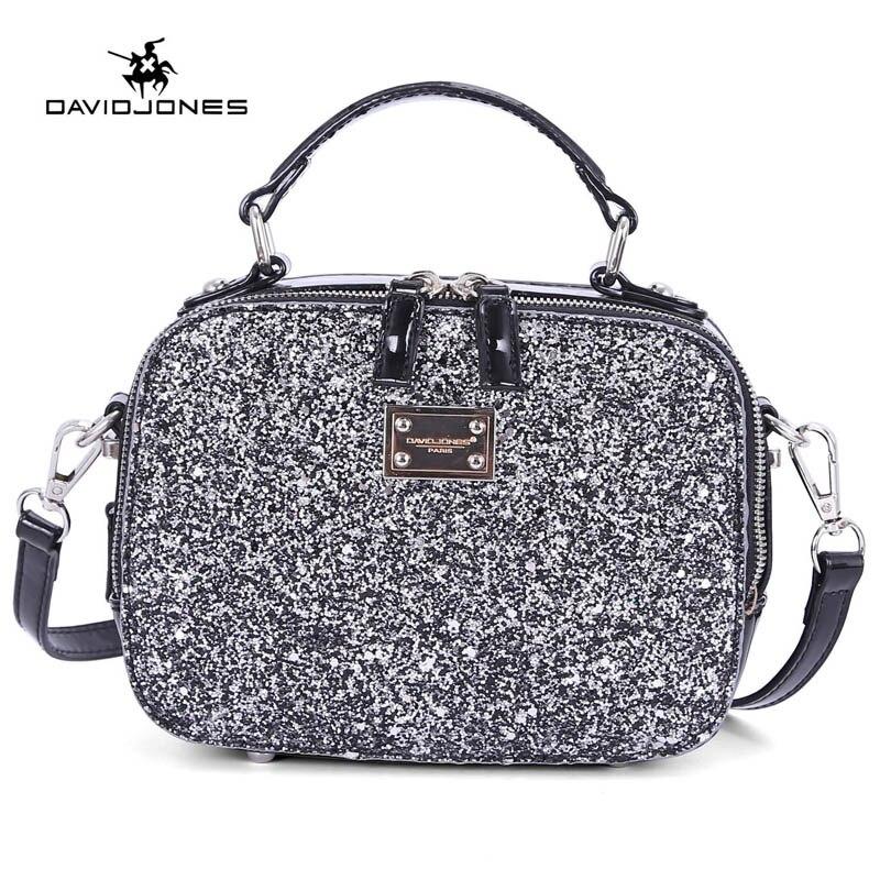 DAVIDJONES women handbag pu leather female handbag mini lady sequin evening shoulder bag girl brand crossbody