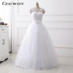 Ceewhy Кепки рукава Свадебные платья Hochzeitskleid Вышивка свадебное платье o Средства ухода за кожей Шеи белое платье невесты Robe De Mariage свадебное