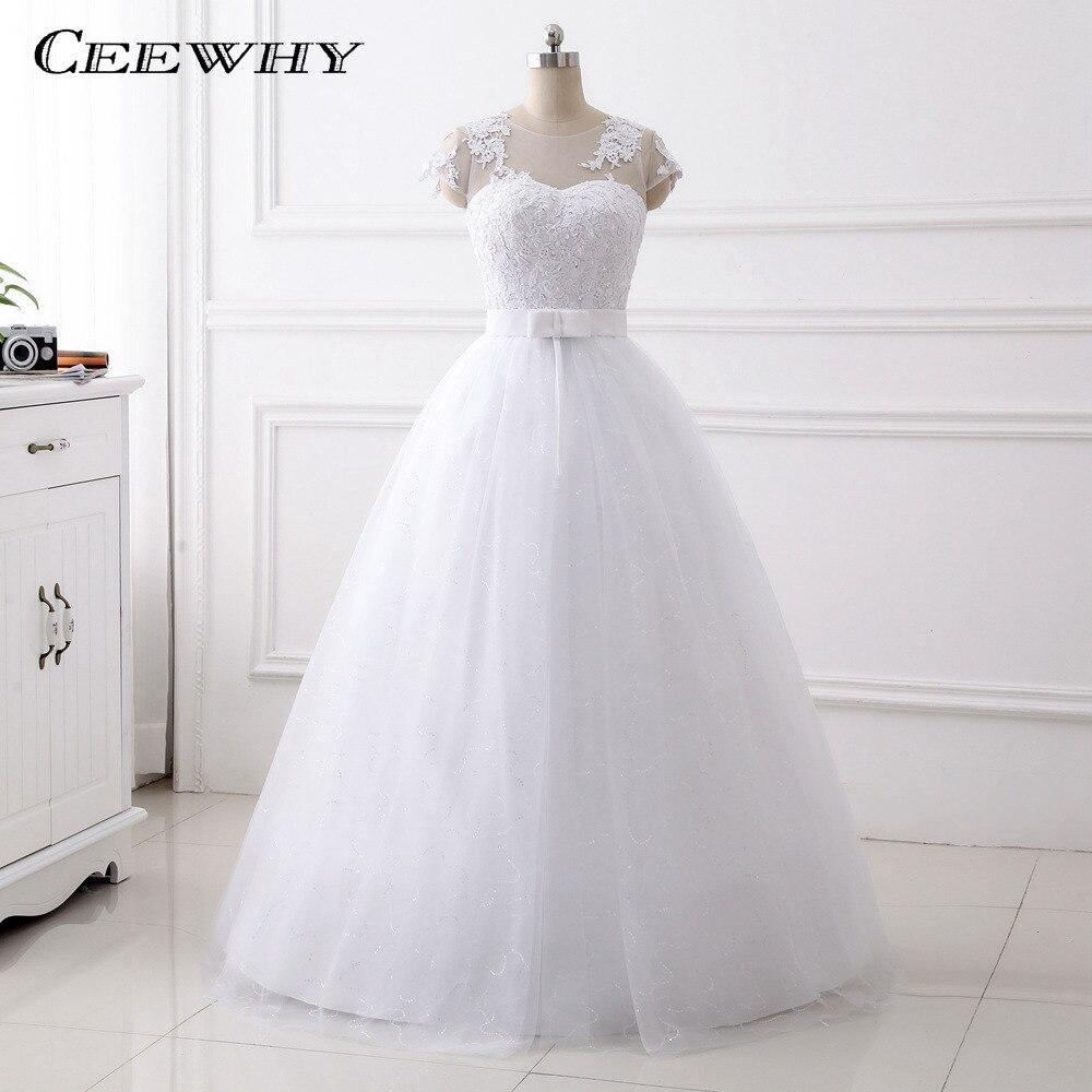 US $19.19 19% OFFCEEWHY Cap Sleeves Brautkleider Hochzeitskleid Embroidery  Wedding Gown O Neck White Bride Dress Robe de Mariage Wedding