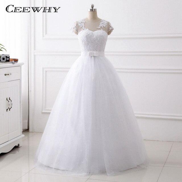 CEEWHY Kappen hülsen Brautkleider Hochzeitskleid Stickerei ...