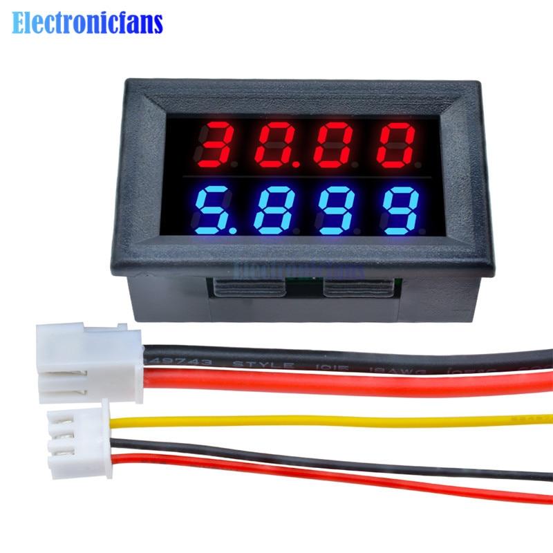 0.28 Inch Digital DC Voltmeter Ammeter 4 Bit 5 Wires DC 200V 10A Voltage Current Meter Power Supply Red Blue LED Dual Display