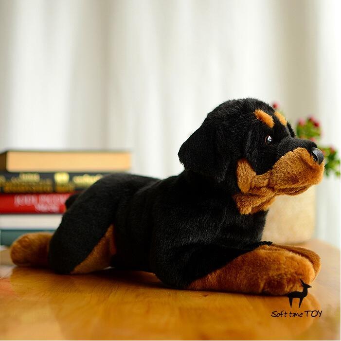 Stuffed Big Toy Animal Simulation Rottweiler Doll Plush Dogs - პლუშები სათამაშოები - ფოტო 3