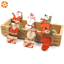 3PCS Printed Wood Crafts Christmas Tree Ornaments Wooden Pendants Party Decorations Hanging Gifts