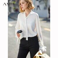 Amii Minimalist V Neck Blouse Women Spring 2019 Women Elegant Solid Full Flare Sleeve Tie Lace Up Office Female Shirt Tops