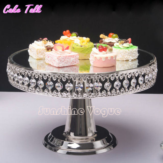 Crystal Bead Silver Plated Metal Cake Stand 12 High Mirror Surface Wedding Decorating