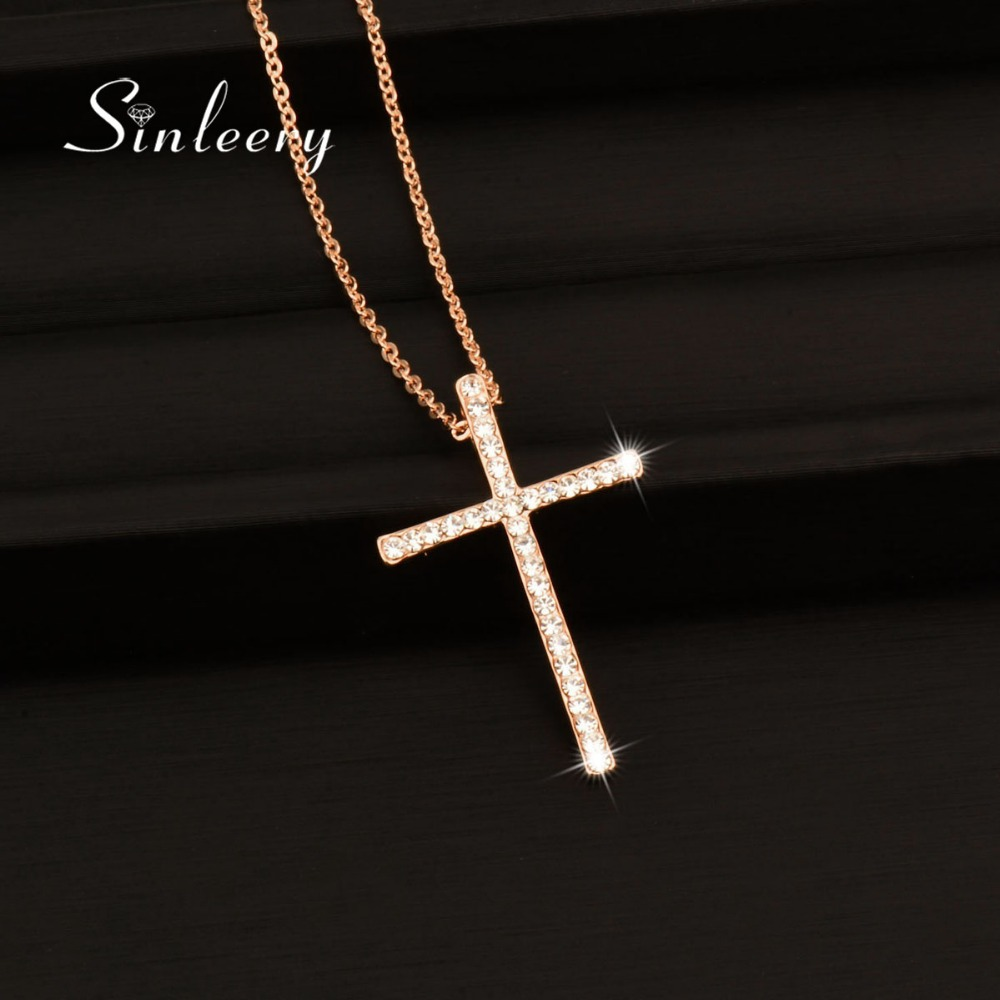 SINLEERY Silver Color Rhinestone Cross Pendant Necklace Chain For Women And Girl Xl402 Free Shipping SSH