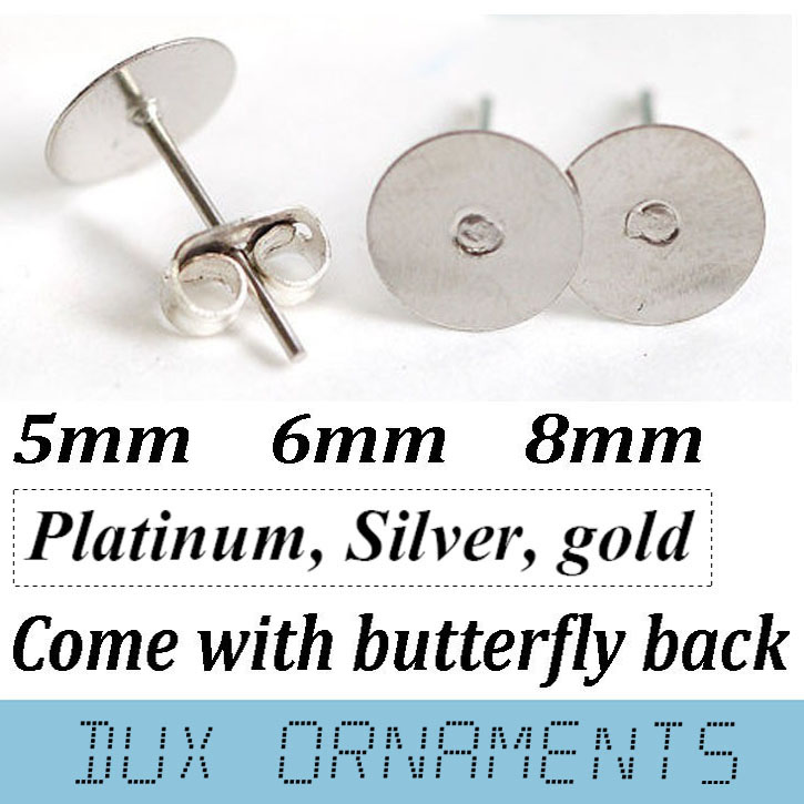 100Pcs Silver Plated Stainless Steel Flat Pad Earring Post Stud Jewelry Findings