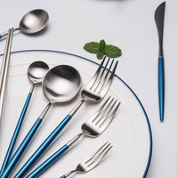 kinglang 1pc high quality blue gold fork spoon stainless steel dinner spoon and fork steak fork tableware