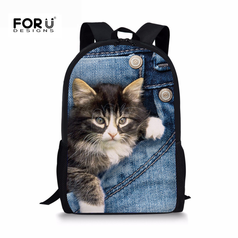 FORUDESIGNS Demin Cat Backpack For Teenager Girls Boys Dogs Printing Cute Kids Schoolbag Backpacks Casual Women Travel Rucksack