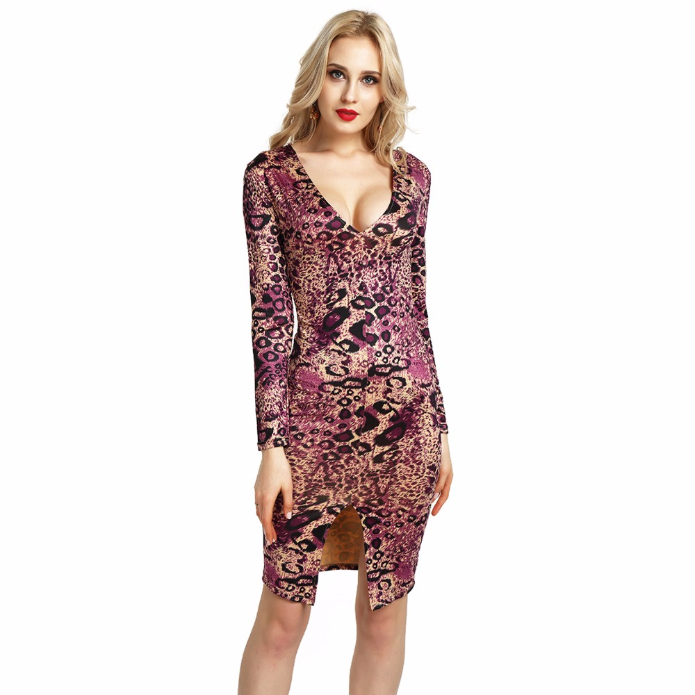 2018 Long Sleeve Women High Elastic Wrap Dress Sexy Deep V Neck Bodycon  Front Split Red Green Female Leopard Midi Dress-in Dresses from Women s  Clothing on ... 7dfb0534d