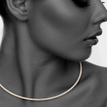StoneFans Simple Beads Sparkly 1 Row Round Flexible Rhinestone Crystal Choker Necklace
