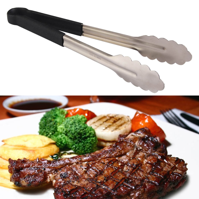 V1NF 10/12/14/16 Inch Stainless Steel Barbecue Buffet Pastry Food Tongs Plastic Handle