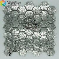 2018 Hexagonal six angle mosaic bark wave metal mosaic wall tile convex 3D stainless steel wall tiles living room backsplash