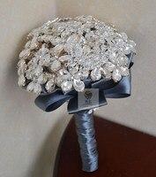 Роскошные ручной работы высокого качества серебряная брошь со стразами ювелирные украшения свадебные украшение букетов свадебный цветок
