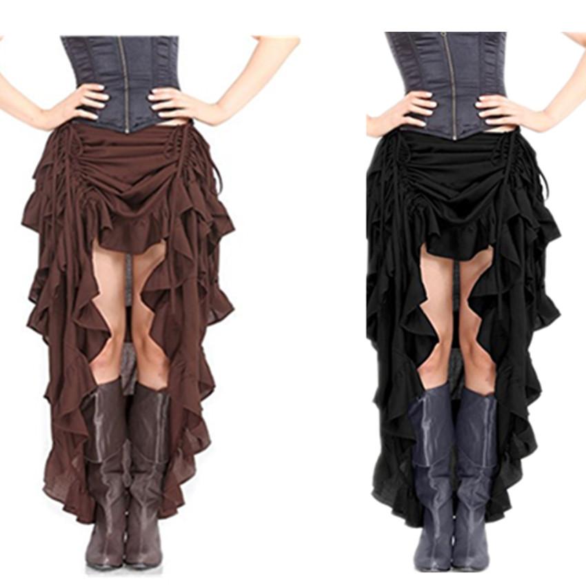 Abbille Black Multilayer Lace Long Costumes Gothic Steampunk font b Clothing b font Skirt 2017 Sexy