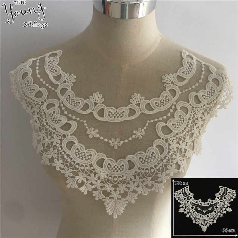 New arrive White Lace Collar Embroidery Applique Neckline Lace Collar Embellishments Trims Wedding Dress Accessories YL1747