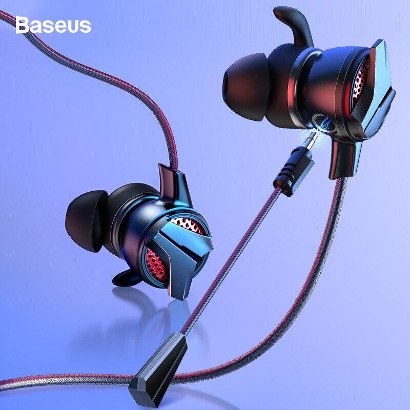Baseus in-ear fone de ouvido 3.5mm typc c fone de ouvido com fio para pubg gamer jogos fones de ouvido hi-fi fones de ouvido com microfone duplo destacável