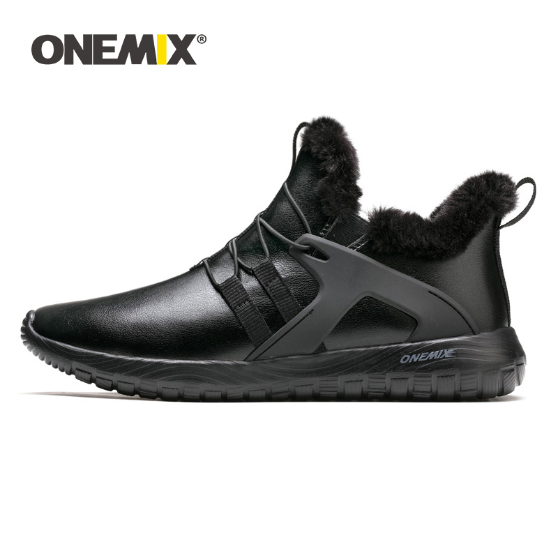 ONEMIX Winter Running Shoes For Men Ankle Boot Outdoor Sneakers Soft Waterproof Leather Keep Warm Men Snow Boots Walking Shoes