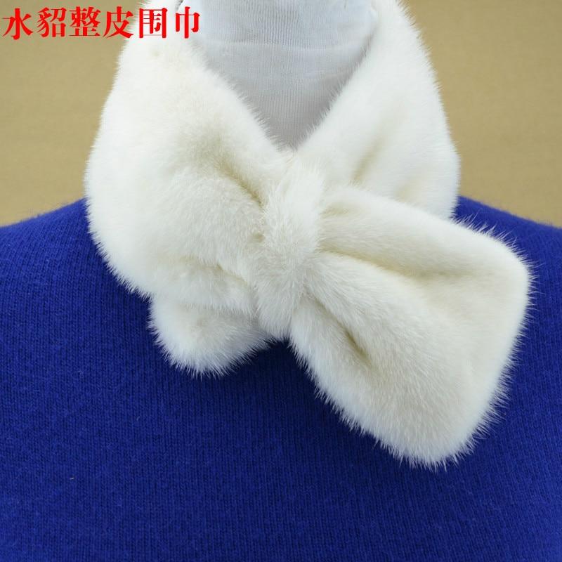 2018New Japanese Korean Female Mink Fur Scarf Mink Fur Scarf Color Warm Bow Scarf Collar