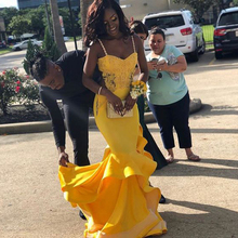 2019 Yellow Mermaid Prom Dresses Evening Dress