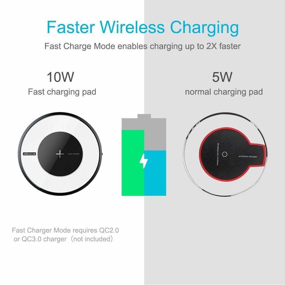 Nillkin 10W cargador inalámbrico rápido para Samsung Galaxy Note 10 10 + S10 S9 Plus almohadilla de carga Qi para iPhone 11 Xs Max X para Mi 9 LED