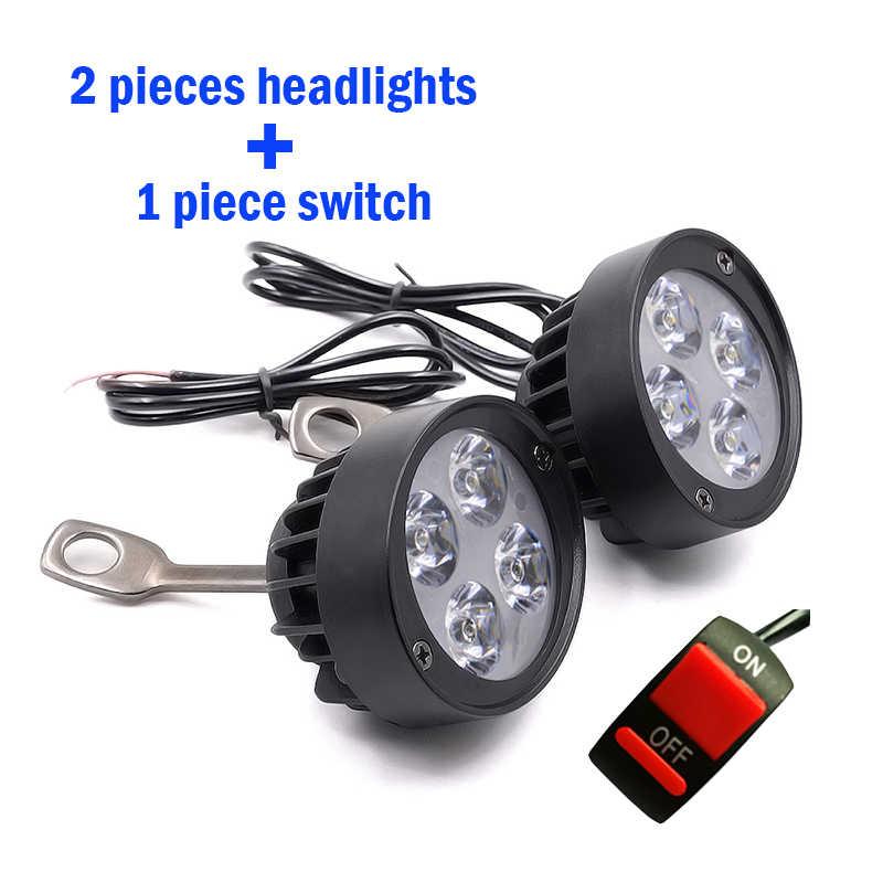 2PCS LED Motorcycle Headlight Motorbike Mirror Mount Driving Headlamp Spotlight Assist Head Spot Fog Lamp Moto Side Mirror Light