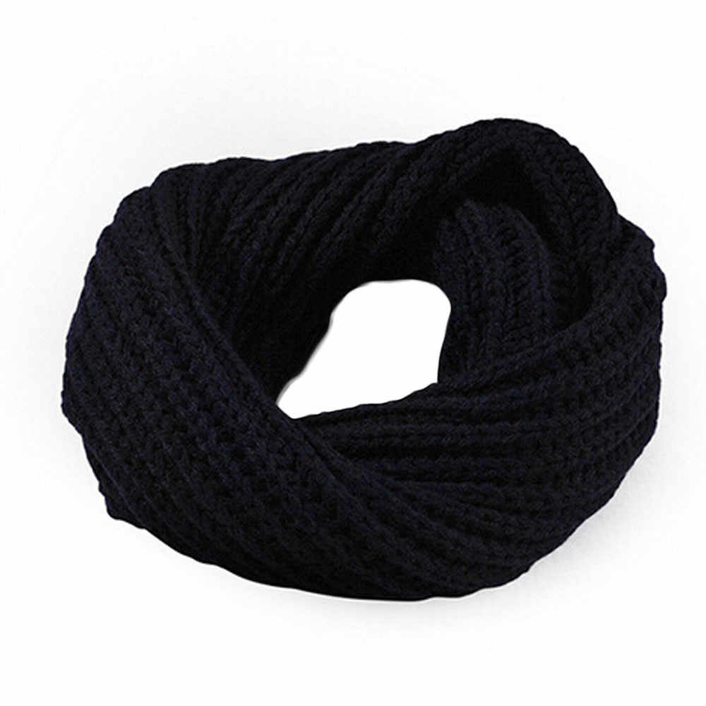 7f52168325d ... Knitted Circle Wool Scarves for Boy Girls Winter Warm and Soft Ring  Solid Fashion Casual Scarf ...