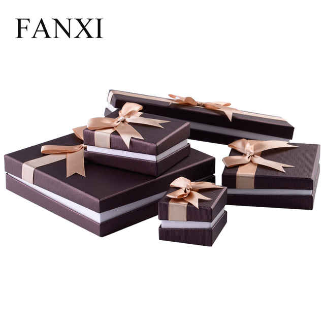 Fanxi Silver Gray Paper Jewelry Gift Box With Silk Ribbon Velvet Foam Insert Ring Necklace Pendant Long Chain Jewelry Packaging